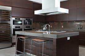 Modern Dark Wood Kitchen Cabinets With Stylish Concrete Counters To Decor