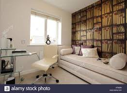 Home office wallpaper Contemporary Home Office Interior Desk Tablechair Library Wall Wallpaper Of Books Sofa Awanshopco Home Office Interior Desk Tablechair Library Wall Wallpaper