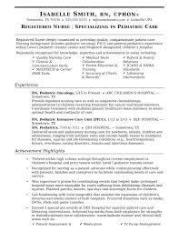 Resume Pediatric Nurse Nurse Resume Sample Monster Com
