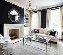 Comfy Living Room With Black And White Wall Color With Fireplace - Comfy living room furniture