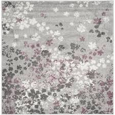 safavieh adirondack garden light gray purple square indoor nature area rug common 8