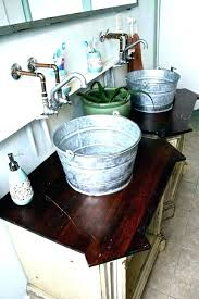 bathroom galvanized bucket style sink
