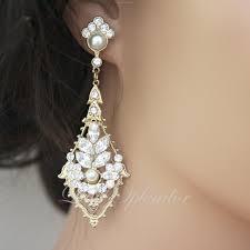elegant pearl rhinestone bridal earrings elegant view larger