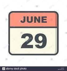 29 giugno Data in un unico giorno calendario Foto stock - Alamy