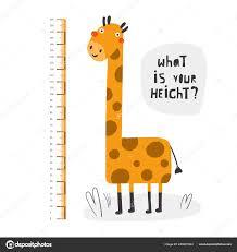 Kid Height Measurement Centimeter Chart With Giraffe For