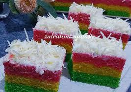 Resep bolu kukus santan , aneka jajanan pasar belum ada komentar untuk rainbow cake kukus 4 telur. Resep Rainbow Cake Kukus Remas Nu