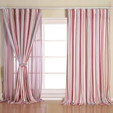 simple inexpensive decorative pink and baby blue striped curtains