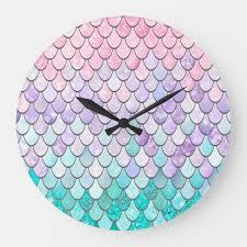 mermaid room decor clock pastel large