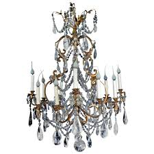 fine antique french louis xv style gilt bronze and cut rock crystal chandelier for
