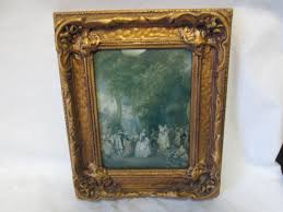 vintage victorian scene wall art convex glass ornate gold wooden frame dancing women and men party