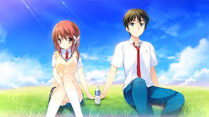 anime love holding hands. Plain Holding Romance Under The Blue Sky Sitting On Grass Boy And Girl Holding Hands  Behind A With Anime Love Holding Hands D