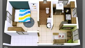 Wonderful Single Bedroom House Plans Indian Style Tiny Homes 3D Isometric