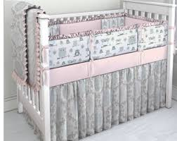 pink aqua and grey owl crib bedding