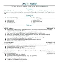 Pipefitter Resume Resume Sample Best Example Templates Apprentice