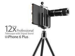 professional iphone 6 plus 6s plus 12x zoom telescope with tripod stand black
