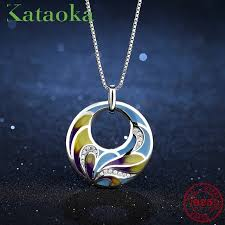 like flowing ribbon blue enamel hollow round shape for women 925 sterling silver necklace pendant charm