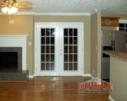 traditional gray vintage entry door with replacement door sporting block glass and golden door handle