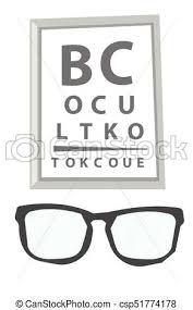 Glasses And Eye Test Chart Vector Illustration