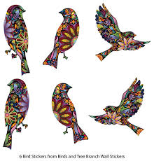 Small Picture Bird Stickers in Lovely Flower Pattern Set of 6 Bird Decals