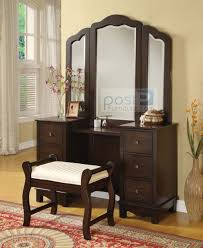 annapolis cherry wood makeup vanity desk set with bench chair mirror