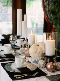 glittering fall table setting and centerpiece ideas