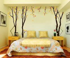 bedroom wall decorating ideas. Autumn Trees With Yellow And Red Leaves, Painted On A Pale Wall, Creative Say Goodbye To Boring Bedroom Walls Our Cool Decor Ideas! Wall Decorating Ideas