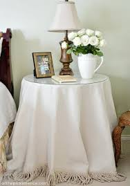 small table cover no sew fringed drop cloth table skirt at the picket fence small round