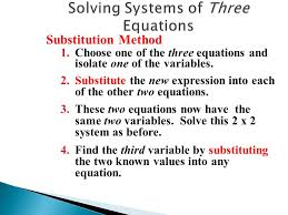53 solving systems of three equations substitution method