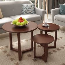 xiaoshenke side table north european solid wood small coffee table side simple small round table set brown coffee table three piece set
