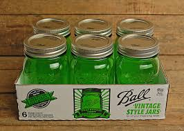 ball jars. 6 ball vintage collection green pint mason jars