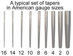 taper gauge kit. an example of taper gauge sizes - from the body piercing encyclopedia vol. 1 by kit e