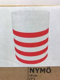 new in box ikea nymo lamp shade white with red stripes 7
