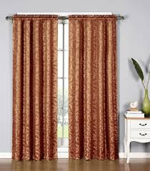 window elements dawson shimmering leaf extra wide 54 x 84 in rod pocket curtain panel black 54x84 inches orange ymc001842
