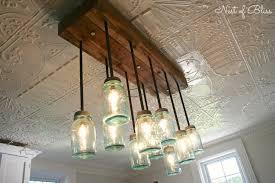 mason jar lighting fixture. Build It: DIY Mason Jar Chandelier From Nest Of Bliss! #mason #diy Mason Jar Lighting Fixture