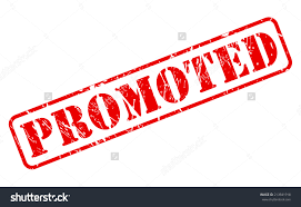 job promotion clip art  promoted red stamp text on white