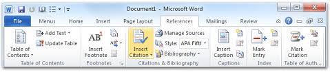 Ms Word Apa Format Where Is The Insert Citation Command In Word 2007 2010 2013 And 2016