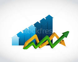 Down Arrow Chart Blue Bar Chart And Up And Down Arrow Chart Stock Photo