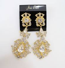 golden clear crystal chandelier earrings 3 25