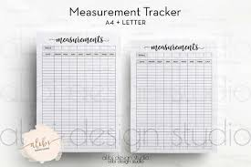 Measurement Tracker Fitness Planner And Health Tracker Weight Loss Weight Log A4 And Letter Printables Body Measurement
