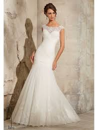 mori lee 5305 rouched tulle fishtail gown with lace trim ivory