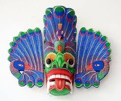 hand carved wood wall decor tiki devil face peacock tribal mask sculpture 10