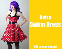 Retro Dress Patterns Custom Rockabilly Retro Swing Dress Printable PDF Pattern Etsy