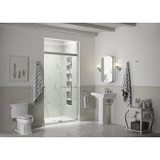 kohler revel 56 625 in to 59 625 in w bright polished silver bypass sliding