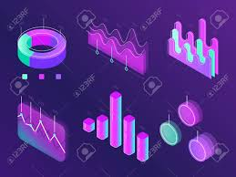Business Statistic Digital Infographic Charts Modern Isometric