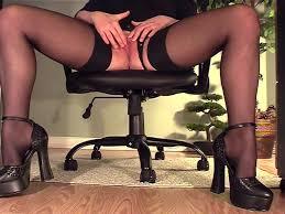 Under desk pantyhose masturbation