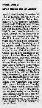 Rodney Hunt in obituary of Jon G. Hunt. - Newspapers.com