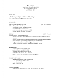 High School Student Resume Resumes Sample Stibera For College