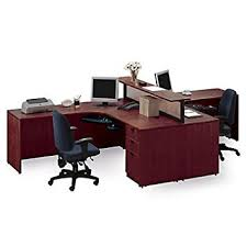 Cherry Two Person Workstation with Divider