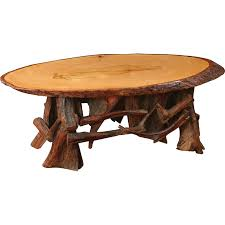 oval coffee table with driftwood base rustic living furniture made in usa builder06