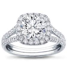 split shank halo setting for cushion cut diamond r2988